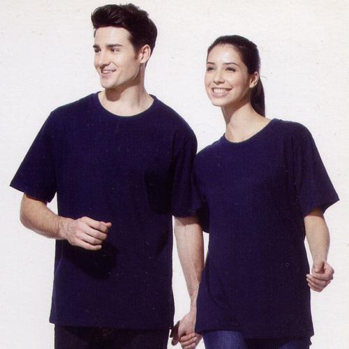 短袖圓領棉質T恤-丈青色