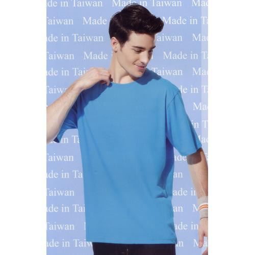短袖圓領棉質T恤-湖藍