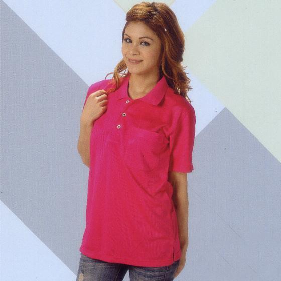 三磚排汗短袖POLO衫-桃紅色