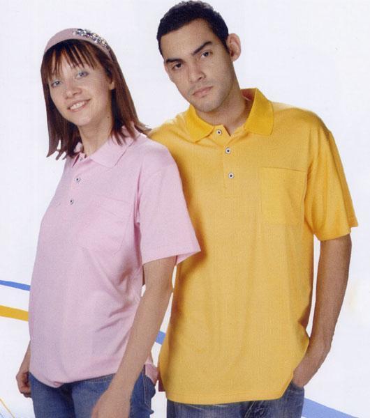 三磚排汗短袖POLO衫-金黃色