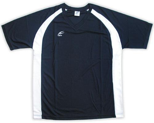 吸濕排汗短袖V領T恤-丈青色x白色