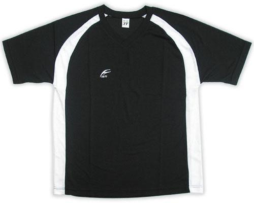吸濕排汗短袖V領T恤-黑色x白色