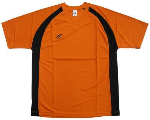 吸濕排汗短袖V領T恤-橘色x黑色