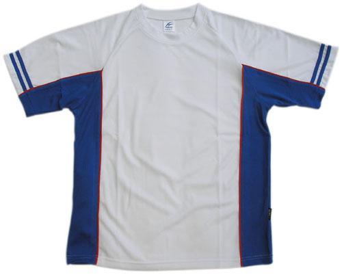 吸濕排汗剪接滾邊短袖T恤-白色x寶藍色