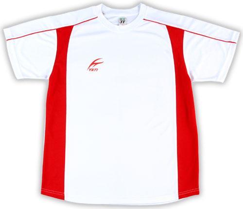 吸濕排汗短袖剪接滾邊T恤-白色x深紅色