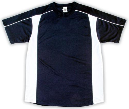 吸濕排汗短袖剪接滾邊T恤-丈青色x白色