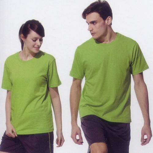 短袖圓領棉質T恤-果綠色