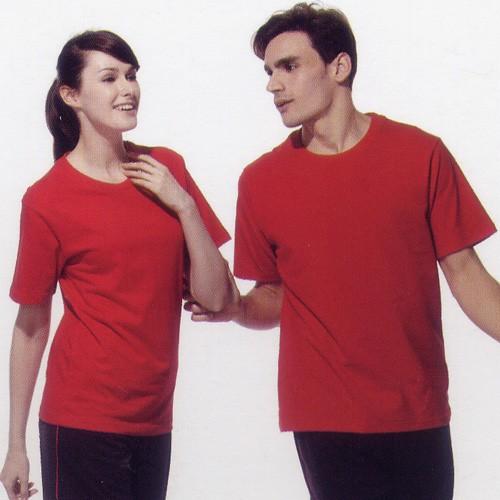 短袖圓領棉質T恤-紅色