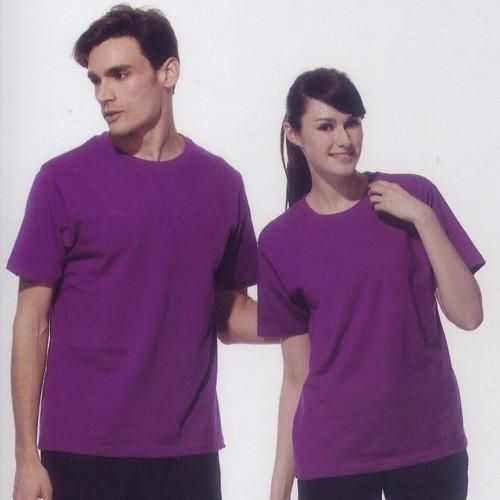 短袖圓領棉質T恤-紫色