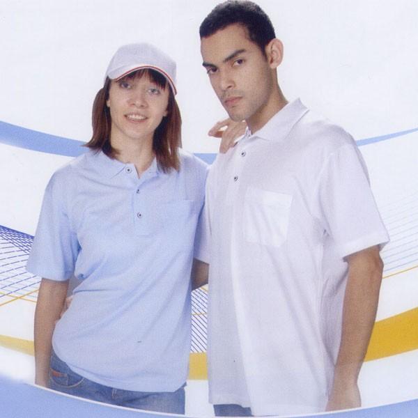 三磚排汗短袖POLO衫-水藍色