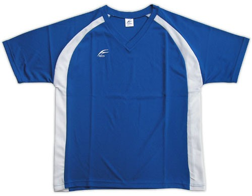 吸濕排汗短袖V領T恤-寶藍色x白色