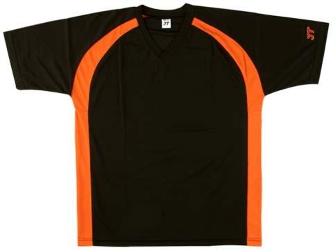 吸濕排汗短袖V領T恤-黑色x橘色