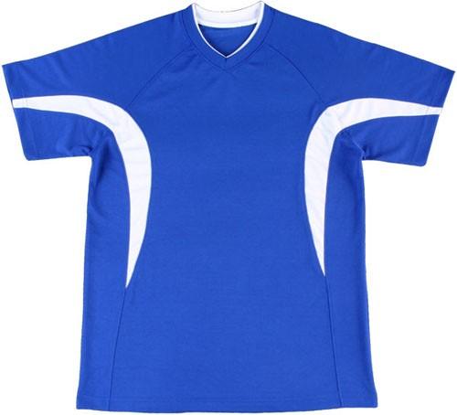 吸濕排汗短袖心領T恤-寶藍色x白色