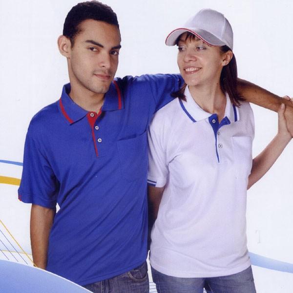 短袖排汗POLO衫-寶藍色
