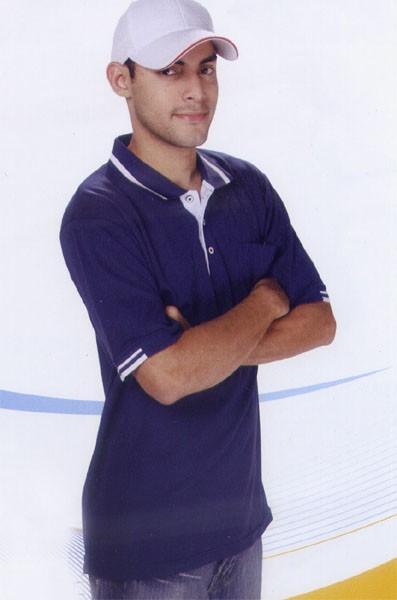 短袖排汗POLO衫-丈青色