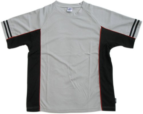 吸濕排汗剪接滾邊短袖T恤-灰色x黑色