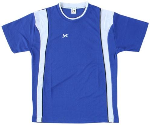 吸濕排汗短袖剪接滾邊T恤-寶藍色x白色