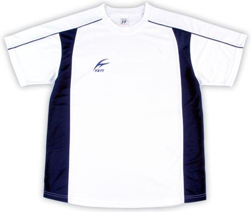 吸濕排汗短袖剪接滾邊T恤-白色x丈青色