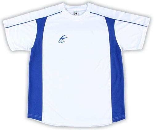 吸濕排汗短袖剪接滾邊T恤-白色x寶藍色