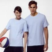 短袖圓領棉質T恤-水藍色