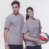 短袖圓領棉質T恤-麻灰