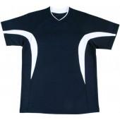 吸濕排汗短袖心領T恤-丈青色x白色