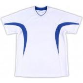 吸濕排汗短袖心領T恤-白色x寶藍色