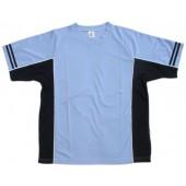 吸濕排汗剪接滾邊短袖T恤-淺藍色x丈青色