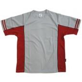 吸濕排汗剪接滾邊短袖T恤-灰色x深紅色