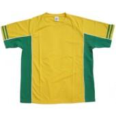 吸濕排汗剪接滾邊短袖T恤-黃色x綠色