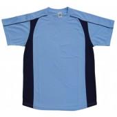 吸濕排汗短袖剪接滾邊T恤-淺藍色x丈青色
